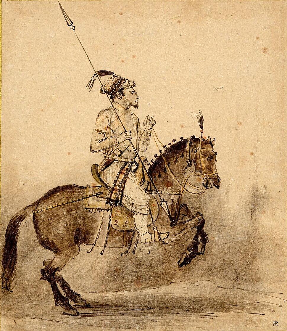 A Mughal nobleman on horseback, a Mughal miniature, c.1656-1661
