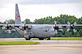 A U.S. Air Force C-130 Hercules aircraft assigned to the 165th Airlift Wing (AW), Georgia Air National Guard taxis in from the runway at Dobbins Air Reserve Base (ARB), Ga., June 6, 2013 130606-F-AC256-075.jpg