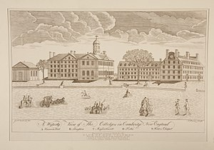 Colonial colleges - Engraving of Harvard College by Paul Revere, 1767