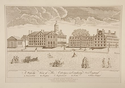 Engraving of Harvard College by Paul Revere, 1767 A Westerly View of the Colledges in Cambridge New England by Paul Revere.jpeg