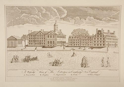 Engraving of Harvard College by Paul Revere, 1767. Harvard University's endowment was valued at $37.1 billion as of 2017 A Westerly View of the Colledges in Cambridge New England by Paul Revere.jpeg