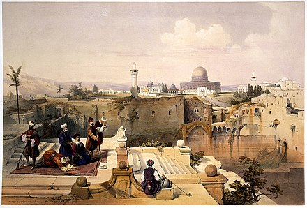 The Holy Land, Syria, Idumea, Arabia, Egypt, and Nubia of 1842-49 : a classic Orientalist art publication. A group of worshippers at the site of a temple Wellcome L0021551.jpg