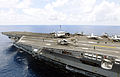 A helicopter assigned to Helicopter Anti-Submarine Squadron 4 prepares to depart the flight deck of USS Ronald Reagan (CVN 76) while under way in the Pacific Ocean June 26, 2008, to provide humanitarian aid to 080626-N-HX866-001.jpg