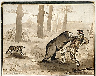 Jedediah Smith - 19th-century depiction of a grizzly bear attack