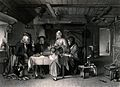 A shepherd's family saying grace at the meal table with a sh Wellcome V0038689.jpg