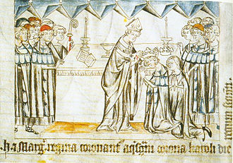 Loretta of Sponheim - The coronation of Henry VII and his wife Margaret of Brabant. Loretta's rival Baldwin of Luxembourg, Henry's brother, stands to the left in the scarlet cap. (Margaret's ample vair-lined peliçon, with its distinctive w-shaped neck, is typical of the sort of garments Loretta would have worn toward the end of her life.) From the Codex Balduini, 1341.