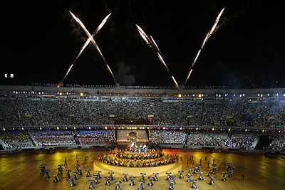 The Opening ceremony. Fireworks forming the number 15, of fifteen editions of the games in Roman numerals. Abertura Jogos Panamericanos 2 13072007.jpg