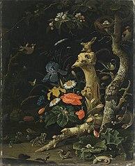Feldblumen und Vögel