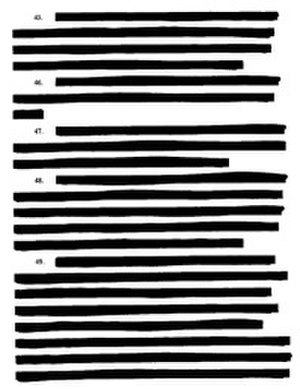 Sanitization (classified information) - A heavily redacted page from a lawsuit filed by the ACLU — American Civil Liberties Union v. Ashcroft