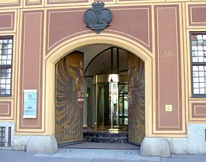 Fuggerhäuser - Adlertor, now the entrance to the Fürst Fugger Privatbank