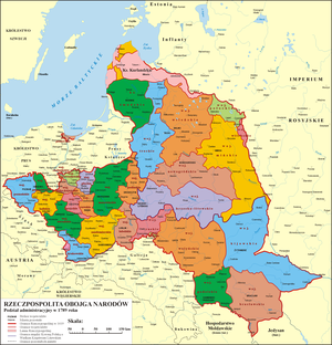 Administrative division of the Polish–Lithuanian Commonwealth - Image: Administrative division of the Polish Lithuanian Commonwealth in 1789