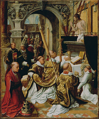 Adriaen Isenbrandt - The Mass of Saint Gregory the Great (about 1510–1550), oil on panel, 362 × 292 mm (14.3 × 11.5 in), J. Paul Getty Museum