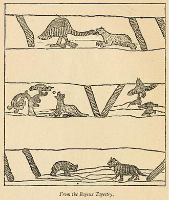 The Wolf and the Lamb - Three of Aesop's fables on 11th-century Bayeux Tapestry, with The Wolf and the Lamb at bottom