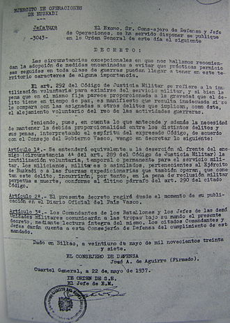 José Antonio Aguirre (politician) - Document signed by Aguirre in 1937