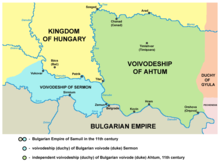Map depicting Ajtony's realm bordered by the Kingdom of Hungary, the Transylvanian duchy of Gyula and a duchy of one Sermon