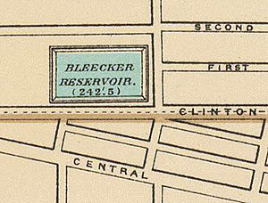 Bleecker Stadium - Bleecker Reservoir is shown in this crop from an 1895 map of Albany.