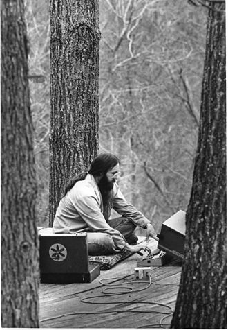 Albert Bates - Albert K. Bates works on a Kaypro-10 computer from his home at The Farm in Summertown, Tennessee, in 1981