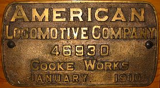 Cooke Locomotive and Machine Works - ALCO-Cooke builder's plate, 1910