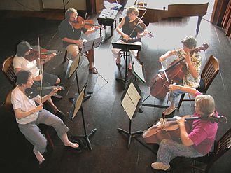 Amateurs play a string sextet Amateur music making.jpg