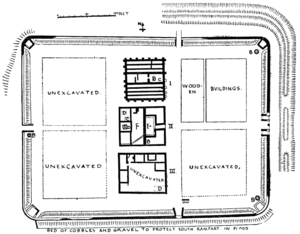 Ambleside Roman Fort - Plan of Ambleside fort, published in 1915. I. Granaries; II. Headquarters; III. Commandant's House; A. Cellar; B. Hearth or Kiln; C. Deposit of corn; D. Ditch perhaps belonging to earliest fort; E. Outer Court of Headquarters; F. Inner Court