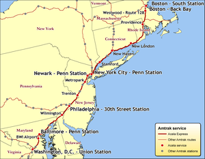 Map of Acela Express service on the Northeast Corridor.