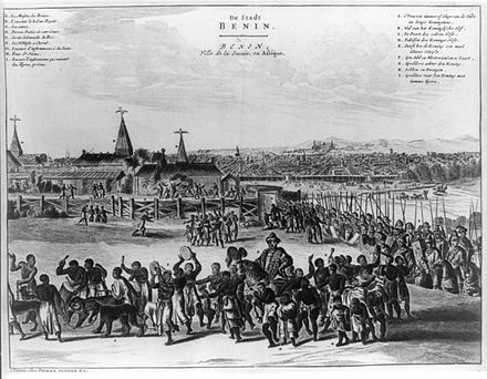 Benin City in the 17th century with the Oba of Benin in procession. This image appeared in a European book, Description of Africa, published in Amsterdam in 1668. Ancient Benin city.JPG