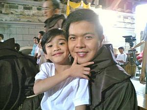 May Bukas Pa - Zaijian Jaranilla (left) portrays Santino. Andre Tiangco (right) portrays Fr. George