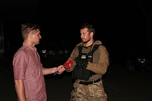 Andriy Biletsky (politician) - Biletsky interviewed by Ukrainian TV after a mission near Mariupol.