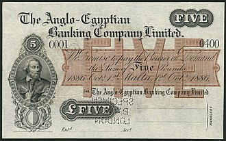 Specimen banknote - A specimen banknote of the Anglo-Egyptian Bank in Malta.