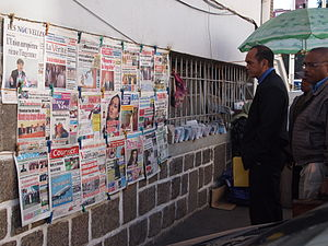 Antananarivo Madagascar people reading news