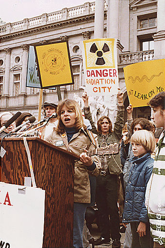 Anti-nuclear protest at Harrisburg in 1979, following the Three Mile Island accident Anti-nuke rally in Harrisburg USA.jpg