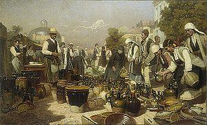 Anton Mitov - Pottery Market in Sofia (1917)