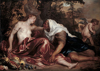 Jan Roos (painter) - Vertumnus and Pomona, with Anthony van Dyck