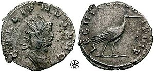 """Legio III Italica - An antoninianus issued by Gallienus in 260 to celebrate III Italica. Note the stork, the legion's symbol, on the obverse. The legion is called VI Pia VI Fidelis, """"six times faithful and six times loyal"""""""