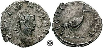 "Legio III Italica - An antoninianus issued by Gallienus in 260 to celebrate III Italica. Note the stork, the legion's symbol, on the obverse. The legion is called VI Pia VI Fidelis, ""six times faithful and six times loyal"""