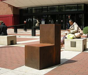 English PEN - Antony Gormley's Witness, on the piazza of the British Library, London