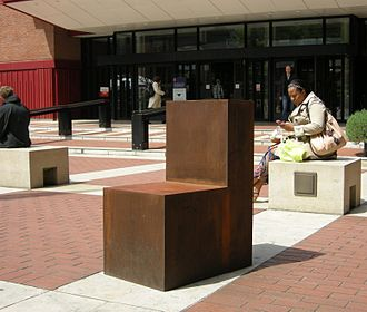 PEN International - Antony Gormley's Witness, on the piazza of the British Library, London