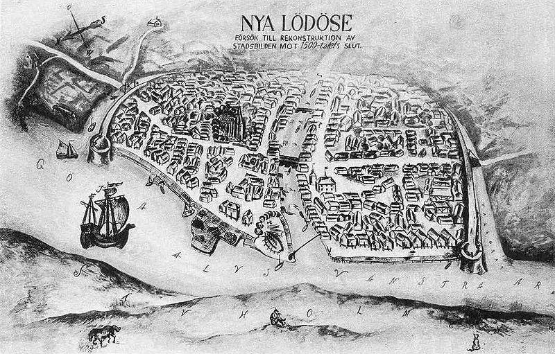 File:Arkeologi - Rekonstruktionsritning av staden Nya Lodose.JPG