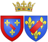 Arms of Marie Anne de Bourbon, Légitimée de France as Princess of Conti.png