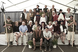 """Arnis, Germany - Group of actors for the play """"Auszug nach Arnis"""", Arnis 8th of July 2017"""