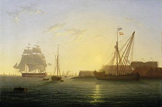 Sheerness Dockyard - The fifth-rate HMS ''Clyde'' (left) and a sheer hulk (right) off Sheerness Dockyard at the time of the Nore Mutiny, 1797.