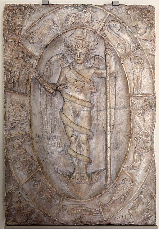 Arte romana, rilievo con aion-phanes entro lo zodiaco, 150 dc ca., probabilmente da un mitreo