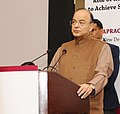 Arun Jaitley addressing the gathering at the International Forum on Role of Rural and Agricultural Finance to Achieve Sustainable Development Goals and 69th APRACA Executive Committee Meeting, hosted by NABARD, in New Delhi.jpg