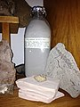 Ashes from Mount Saint Helens eruption swept up in Missoula, Montana, in a glass milk bottle.jpg