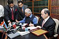 Ashwani Kumar and the Minister of Justice of Azerbaijan, Shri Fikrat Mammadov signing a Treaty between the two countries on mutual legal assistance in civil matters, in New Delhi on April 04, 2013.jpg