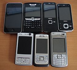 Assorted smartphones.