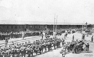 17th Battalion (Australia) - The 17th Battalion entraining at Maritina Italiana in 1915