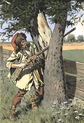 Skirmisher - Austrian pandur, 1760, using a tree for cover while skirmishing.