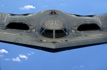 The B-2's engines are buried within its wing t...