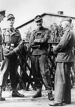 British Free Corps - Two early recruits to the BFC: Kenneth Berry and Alfred Minchin, with German officers, April 1944